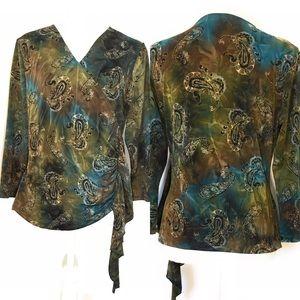 Dressbarn faux wrap blouse, Sz Large